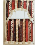 "3pc Printed Kitchen Curtains Set:2 Tiers(30""x36"") & Swag(60""x36"")COFFEE ... - $17.81"
