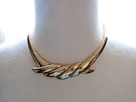 "VTG Monet Couture Gold Plated Bib Bold Link Necklace 16"" Designer Nice NWT - $29.69"