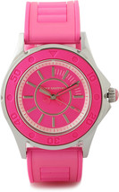 Juicy Couture Rich Girl Pink Neon Silicone Rubber Strap Silver Runway Watch - $88.61