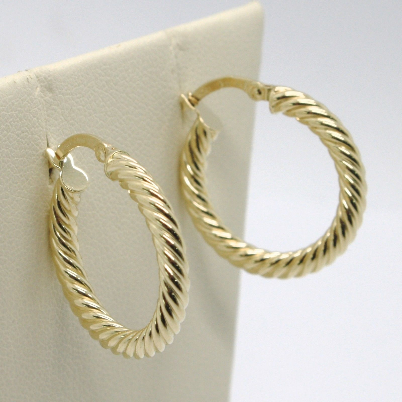 18K YELLOW GOLD CIRCLE HOOPS TUBE TWISTED STRIPED EARRINGS 23 MM x 3 MM, ITALY