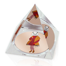 "Fashion Cat Human Hipster Animal Art 2"" Crystal Pyramid Paperweight - $15.99"