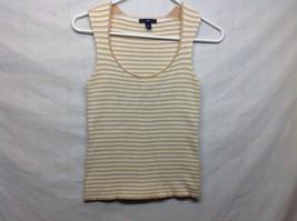 Ladies White Cream Beige Striped Scoop Neck Sweater Vest by GAP Sz S