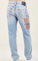 New True Religion Geno Distressed Denim Jeans Relaxed Slim Dragon Embroi... - $167.37