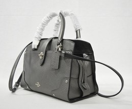 NWT Coach 59988 Metallic Leather Mercer 24 Satchel/Shoulder Bag in Gunmetal - £171.56 GBP