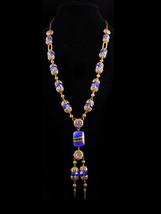 Edwardian Tassel Necklace - cobalt blue Glass connector - filigree necklace - vi - $295.00