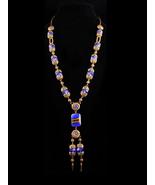Edwardian Tassel Necklace - cobalt blue Glass connector - filigree neckl... - $295.00