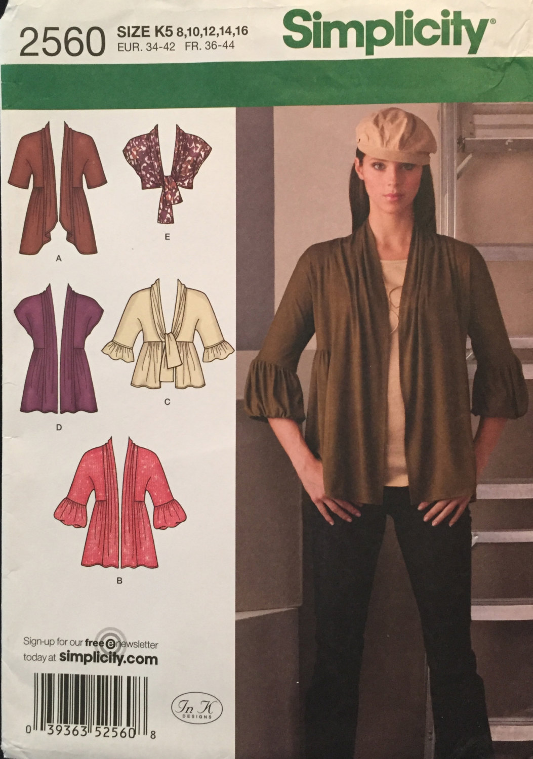 Primary image for Simplicity 2560 Misses Knit Cardigans 5 Options, Pleats,Tie Front & Shrug