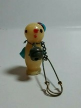 VINTAGE CRACKER JACKS GLASS FIGURAL DUCK WITH HAT PIN - $40.00