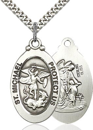 St. michael the archangel pewter pendant on a 24 inch light rhodium heavy curb chain 4145rpw 24s