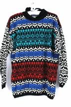 VTG 1980s Andrew St John Ski Sweater Acrylic Black Color Pattern  L Womens - $22.74