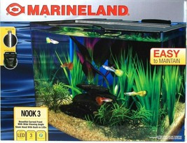 Marineland Nook 3 Curved Front Wide View 3 Gallon LED Easy To Maintain A... - $69.99