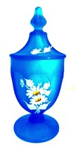 Westmoreland Blue Satin Lidded Jar Floral Roses & Daisies 6.5 inches Tall - $28.71