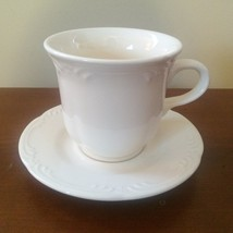 Pfaltzgraff FILIGREE cup & saucers Solid White 2 sets = 4 pieces - $15.00