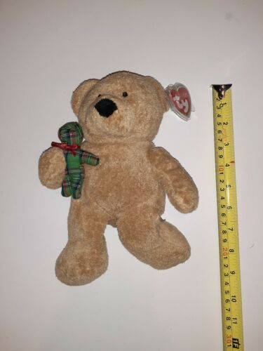 "Primary image for 2005 TY Pluffies 8"" Beary Merry Christmas Bear Holding Plaid Teddy Bear Plush"