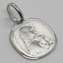 Pendant Medal White Gold 18K, Virgo Mary Jane and Jesus, Squared image 2