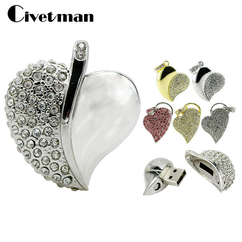 Primary image for Civetman® Crystal USB Flash Drive Necklace Heart Pen Drive