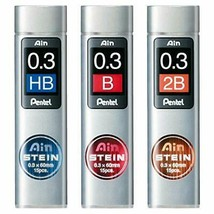 *Pentel mechanical pen core Ain core Stein 0.3mm HB ? B ? 2B set - $9.47