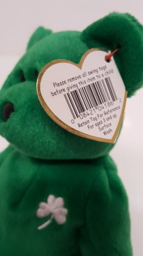 ... Erin Lucky Clover Bear Green March 17 1997 Emerald Isle Retired Ty  Beanie Baby ... 53c61e20b44e