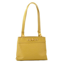 GIANNI VERSACE Sun Face Vanity Tote Bag Yellow Leather Auth sa2385 - $580.00
