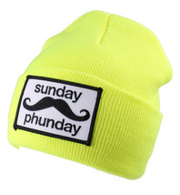 Team Phun Sunday Phunday Orange Fluo Rose Jaune Vert Bonnet Chapeau Bonnet NW