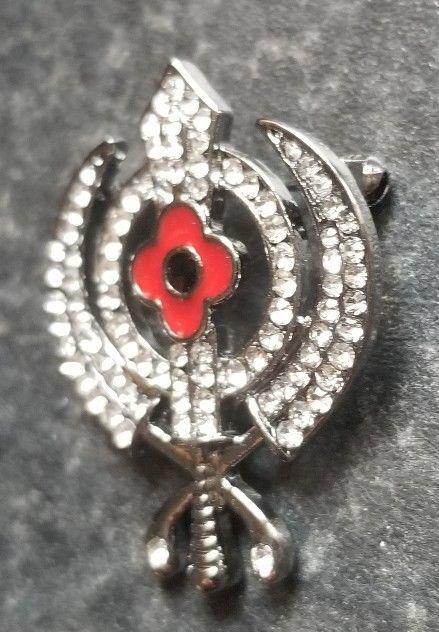 Stunning Diamonte Black Gun Metal SIKH Khanda Poppy Rememberance Day Brooch Pin image 4