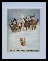 1973 White Horse Scotch Framed 11x14 ORIGINAL Vintage Advertisement - $37.04