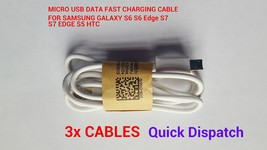 3 X Micro Usb Data Fast Charging Cables For Samsung S5 S6 S6 Edge S7 J Serie - $5.07
