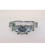 3 STONE CUBIC ZIRCONIA Sterling Silver RING - Size 6 - $85.00