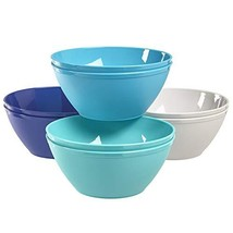Fresco 6-inch Plastic Bowls for Cereal or Salad | set of 8 in 4 Coastal ... - $13.83