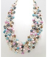 Colorful pastel Fresh Water Pearl floating illu... - $32.55