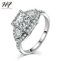 Sliver Color Luxry Wedding Ring Set Engagement AAA CZ Crystal Jewelry Fo... - $9.76