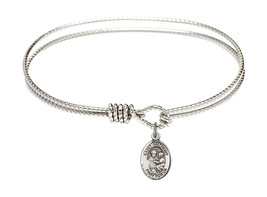 Saint Anthony of Padua 7 1/4 Oval Eyehook Sterling Silver Bangle Bracelet - $64.99