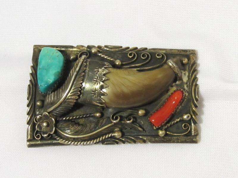 Old Pawn Vintage NAVAJO Sterling Silver Buckle Belt Faux Bear Claw Turquoise & C