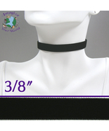 Black VELVET Choker 3/8 inch 10 mm wide Custom Size Handmade USA goth vi... - $5.50