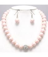 Light pink pearl evening necklace set wedding p... - $18.80