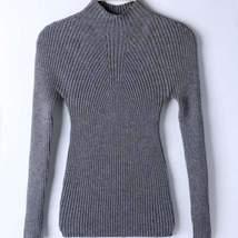 Elastic High Neck Knitted Women Slim Sweater - $22.00