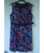 NWT NINE WEST BLACK FLORAL FLARE CAREER DRESS SIZE 14 SIZE 16 $99 - $30.02