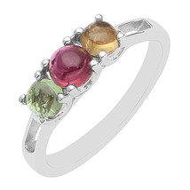 Multi Color Tourmaline Round Cabochon Women Valentine Day Gift Ring Stac... - $18.10