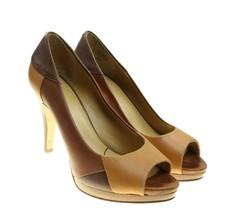 Nine West DEL ORES Womens Brown Leather Patchwork Peep Toe Pumps Heels 6... - £12.08 GBP