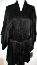NWT New Designer Natori Short Wrap Robe Womens XL Silky Sexy Belt Black ... - $123.50