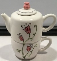 2006 Starbucks 18 oz Coffee Teapot and Cup Pink Flower Tulip Lid   - $28.80