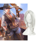 OW Ashe Cosplay Wig Sliver White Short Side Part Wig Straight Wig Women ... - $21.99