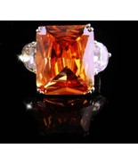 HUGE Citrine ring / designer Cocktail Ring / Size 8 / 13th 17th annivers... - $95.00