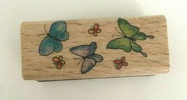 StampCraft Rubber Stamp Small Butterfly Border Wood Mount Spring Easter ... - $3.99