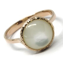SOLID 18K ROSE GOLD RING, CABOCHON CENTRAL MOTHER OF PEARL, DIAMETER 10mm image 1