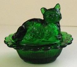Mosser Dark Green Transparent Glass Covered Cat Salt - $10.00