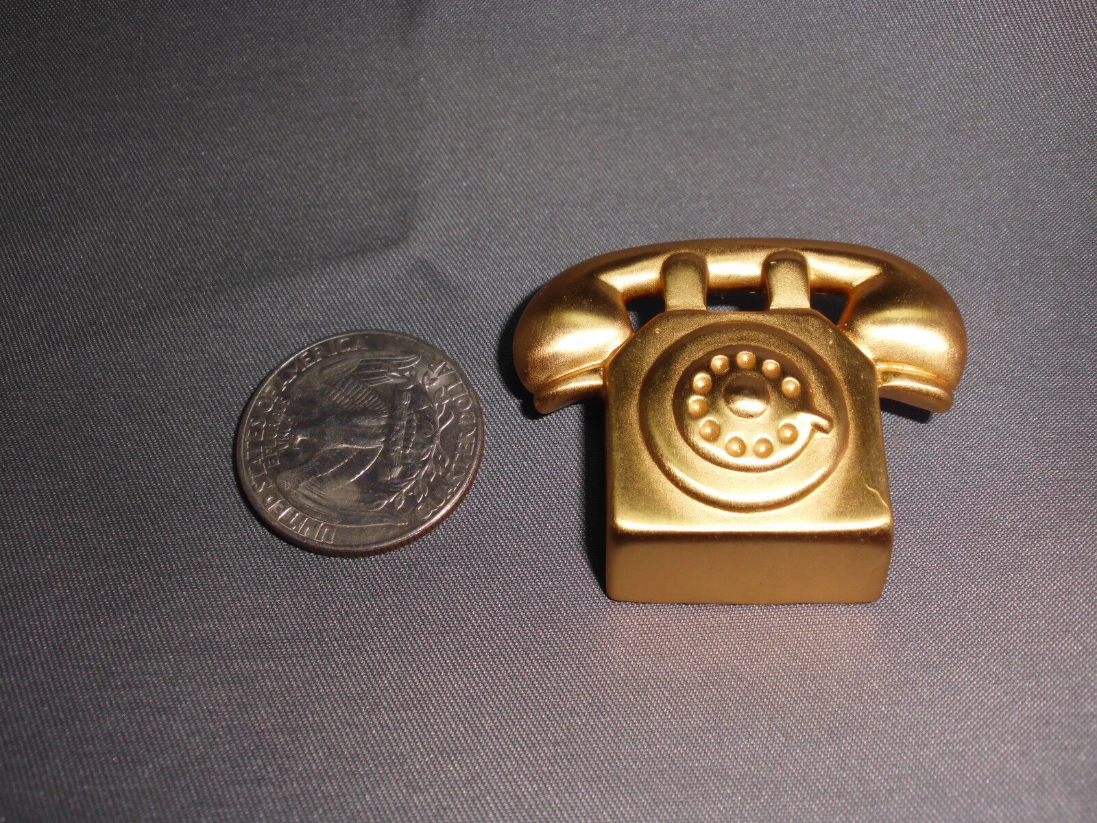 VTG Large Gold Tone Telephone Pin Brooch image 3