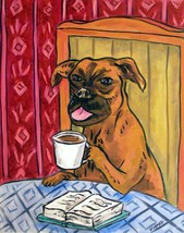 Boxer dog at the cafe coffee shop  art print 4x6 - $14.49