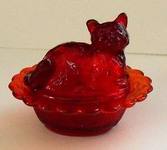 Mosser Transparent Red Glass Covered Cat Salt - $10.00