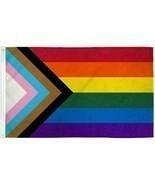Progress Pride Rainbow Flag 4x6 ft HUGE LGBTQ Gay Lesbian Trans People o... - £21.26 GBP